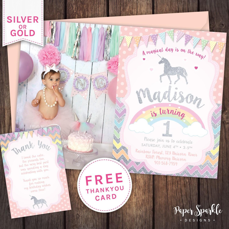 Unicorn Invitation Unicorn Party First Birthday Invitation