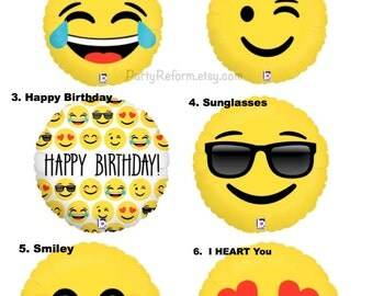 """Emoji Balloons Love, Smiley, LOL, Wink, I Heart You, Sunglasses, Happy Birthday Emoticon 18"""" Mylar Fill with Helium or Air"""