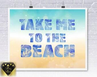 Beach Print, Instant download, Inspirational Print, 8x10 Print, Typography Print, Hamptonsp Print, printable