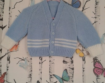 Boy's Blue & White Cardigan, Baby Boy, Hand Knitted, Handmade