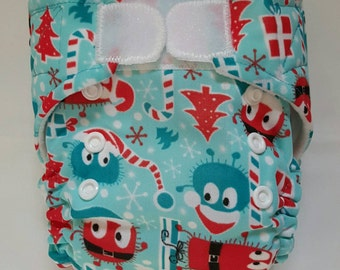 Christmas/Holiday Ooga Booga Small/Newborn(6-16lbs) Cloth Pocket Diaper with 2 inserts included-Ready-to-Ship