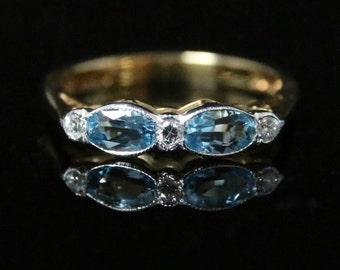 Aquamarine & Diamond Ring - 18ct Gold