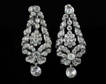 Antique Georgian Silver Paste Long Earrings