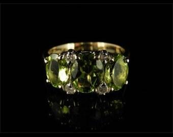 Spectacular 3.10ct Peridot & Diamond Trilogy Fabulous Ring