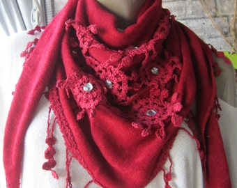 Christmas gift/ red shawl scarf, vomen scarf, scarvrs, fall fashion, accessories