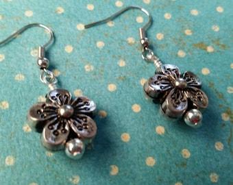 Silver Flower Dangles