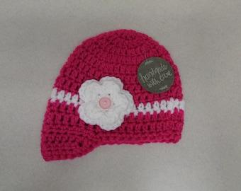 Crochet Baby Girl Hat With Flower, Crochet Baby Hat, Baby Girl Hat, Crochet Hat with Flower, Crochet Flower Hat, Baby Girls Crochet Hat,
