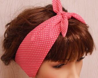 Pin up style hair scarf, rockabilly headband, 1950's head scarves, womens headbands, retro hair band, polka dots head scarf