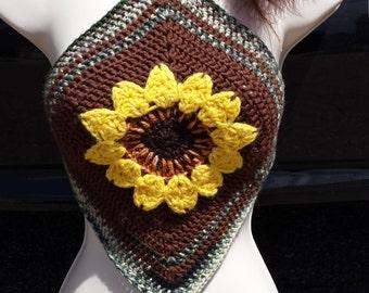 Sunflower gypsy diamond crochet top