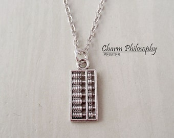 Abacus Toy Necklace - Silver Historical Counting Tool Necklace - Antique Silver Jewelry