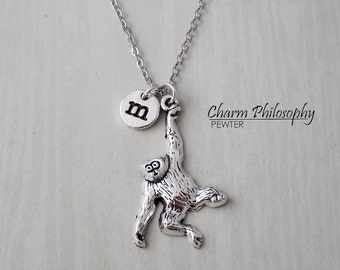 Hanging Monkey Necklace - Antique Silver Swinging Monkey Pendant - Personalized Monogram Initial Necklace