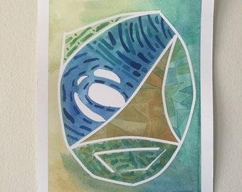 Aqua Egg, original watercolor