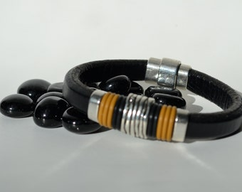 Black Leather Bracelet/Antique Silver Magnetic Clasp/Antique Silver Spacers/Men's Bracelet