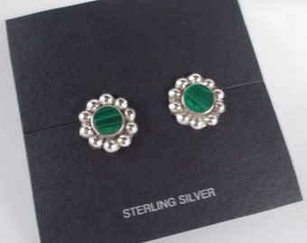 Sterling Silver and Malachite .925 Post Earrings