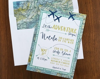 Adventure Maps Baby Shower Invite - Airplane Baby Shower Invitations - Travel Shower Invites - Printed Invitations or Digital File Only