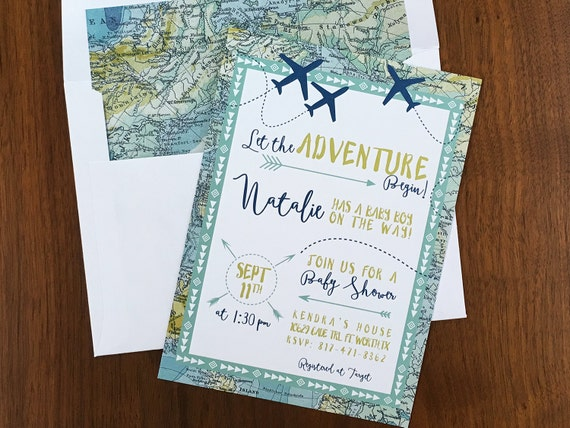 adventure maps baby shower invite airplanes travel theme printed