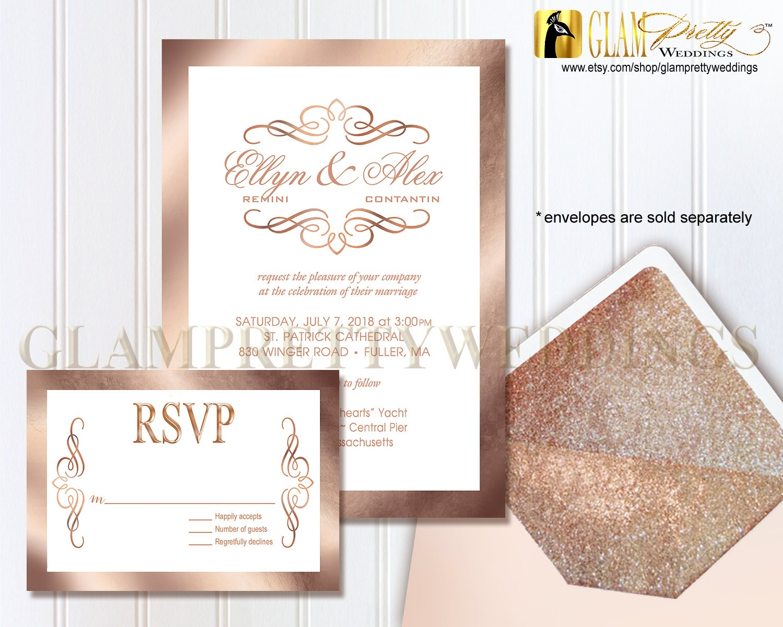 Wedding Invitations Rose: Rose Gold Foil Wedding Invitation And RSVP Card Swirly