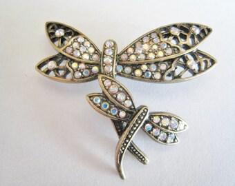 Rhinestone Dragon Fly Pin