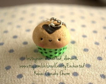 Green Kawaii Cupcake Charm