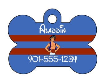 Disney Aladdin Personalized Dog Tag Pet Id Tag w/ Your Pet's Name and Number