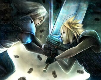 Final Fantasy VII Fan Art Glossy Poster Print - Free USA Shipping