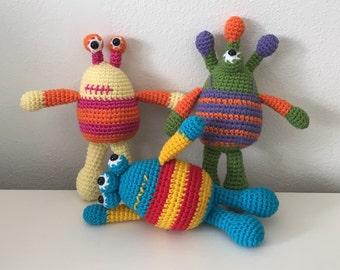 Set of Three Handmade Crochet Monsters
