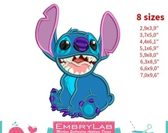 Applique Stitch. Lilo & Stitch. Machine Embroidery Applique Design. Instant Digital Download (16270)