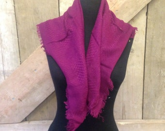 1970's Vintage Aubergine/Purple/Wine Knitted Textured Acrylic Scarf - Perfect condition