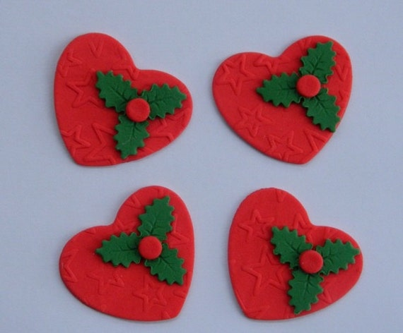 Edible Holly Cake Decorations Asda : 12 edible CHRISTMAS HEARTS with HOLLY textured cake cupcake