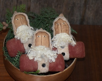 Primitive Handmade Santa Bowl Fillers ~ Christmas ~ Winter
