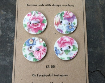 Set of 4 Chintz Buttons made with upcycled china/ handmade buttons/ ceramic buttons/ shabbychic buttons