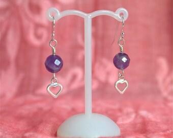Amethyst and Sterling Silver Heart Earrings