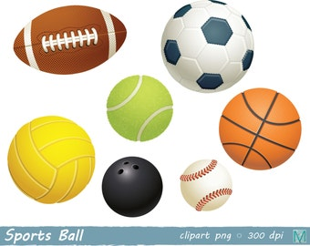 Sports Ball clip art images - for Scrapbooking Card Making Paper Crafts - instant download digital file - PNG