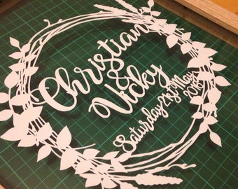 Personalised Wedding Wreath Papercut. Framed Papercut Featuring Names and Wedding Date.
