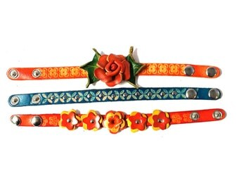 Genuine Leather Bracelet, Multi Color Flowers Leather Bracelet, HFF152143