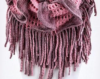 Crochet Finge Purple Infinity Scarf, circle scarf, loop Scarf