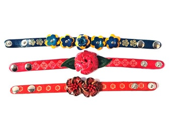 Genuine Leather Bracelet, Flowers Leather Bracelet, HFF144702