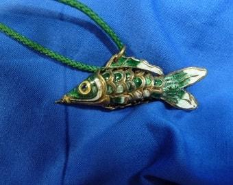 Vintage Aticulated Carp Necklace