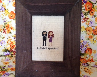 Custom Embroidered Family Portrait Two Characters