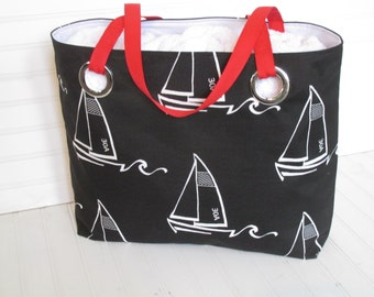 Sailboat Zippered Tote  Black and White Nautical Tote Sailor Bag Yacht Accessory Boat Bag