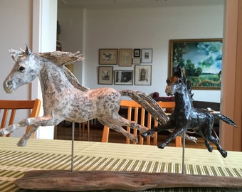 pony mare and foal papier mache  sculpture