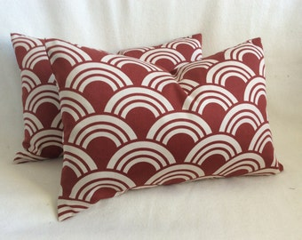 Art Deco Designer Lumbar Pillow Cover Pair - Rust/Cream