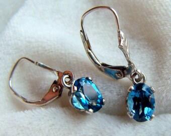 London Blue Topaz Leverback Earrings in Sterling Silver