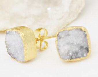 White Druzy Stud Earrings, Stud Earrings, Square Stud Earrings, Gold Stud Earrings, Crystal Earrings, Square Druzy Stud Earrings