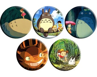 Set of FIVE My Neighbor Totoro (1988) handmade film / movie badge set [Studio Ghibli, Hayao Miyazaki]