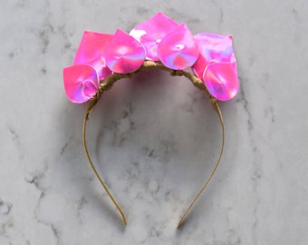 Hot Pink Patent Leather Look Headpiece / Fascinator - Gold Headband