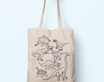 DInosaurs T-Rex Velociraptor Illustration Cotton Shopper Tote Canvas Bag Shopping Gym Books Tumblr Funny Joke Boy Girl Sack Cotton Gift