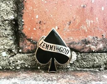 Lemmy IS God - Motorhead Hard Enamel Pin