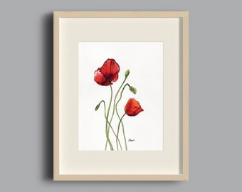 8x10 Poppy Print of Original Watercolor Fine Art Floral Botanical Garden Painting, Mother's Day, Birthday Gift, Decor, Red, Orange