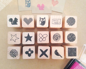 Cute Patchwork Rubber Stamps / Wooden Rubber Stamps / Stamping Ink / Sellos pequeños y tintas